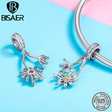 BISAER New Collection 925 Sterling Silver Dandelion Shape CZ Pendant For Bracelet&Necklace Fashion Jewelry Gift For Women HVC052 bisaer 100%real 925 sterling silver rose gold color heart apple sakura shape pendant necklace for women fashion gift hsn313