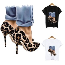 Iron-on transfers for clothing Fashion high heels stripes heat-sensitive patches transfer