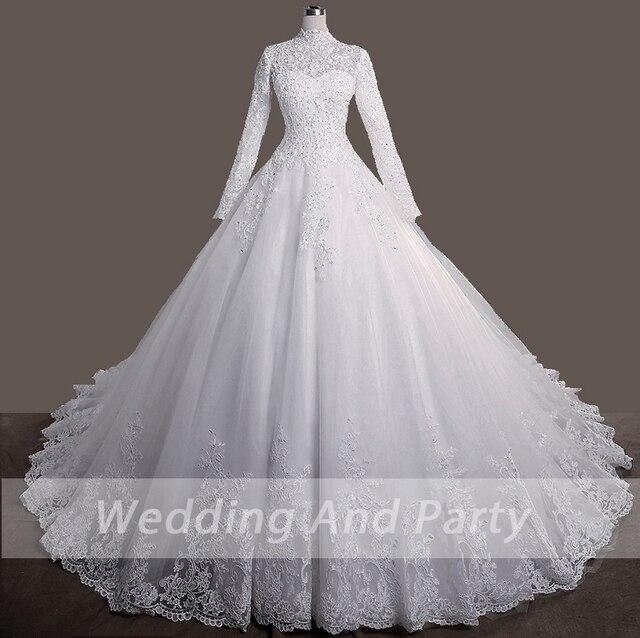 Elegant princess Bride WEDDING gown LONG SLEEVE PLUS SIZE lace up Celebrity Ball Gown Muslim wedding DRESS vestido De Noiva 2