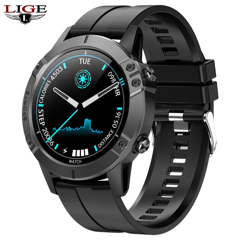 LIGE New IP67 Waterproof Smart Watch Men Sports Fitness Tracker Heart Rate Monitor Android IOS Full Touch Screen Men Smartwatch