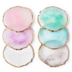Resin Painted Palette Storage Tray Agate Jewelry Display Plate Necklace Ring Earring Display Trays Golden Rim Dish Desktop Decor