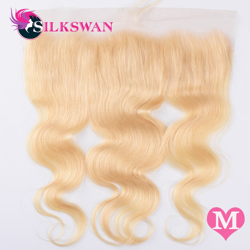 Silkswan Brazilian Human Medium Ratio Remy Hair Body Wave 613 Color 13*4 Lace Frontal Ear To Ear With Baby Hair Free Shipping