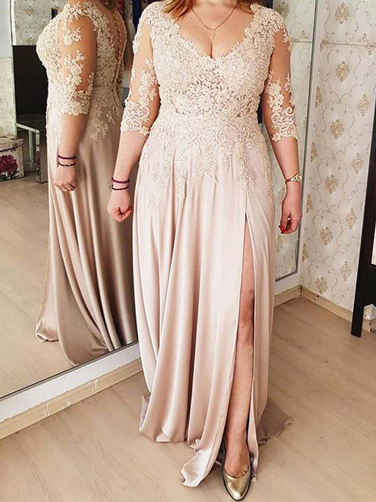 Lace 3/4 Long Sleeve Mother of the Bride Dress V Neck High Split Floor Length Elegant Formal Evening Party Wedding Guest Gown