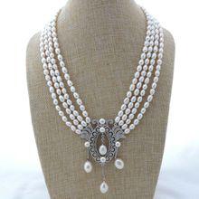 "K112405 4 нити 1"" белый жемчуг в форме риса ожерелье CZ кулон"