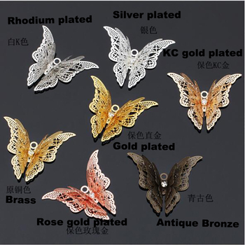 100pcs Three-dimensional butterfly 35x45mm Butterfly Etching Sheet filigree flower wraps flower piece pendant charms FCN-009
