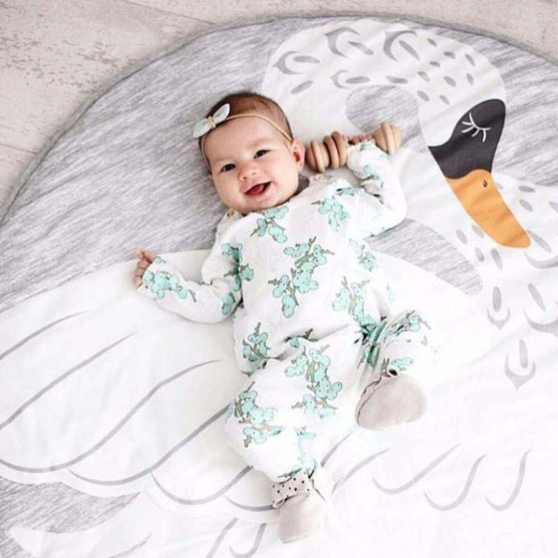 Baby Toddlers Play Floor Mat Cartoon Swan Kids Crawling Blanket Children Room Stroller Decor Props 19QF
