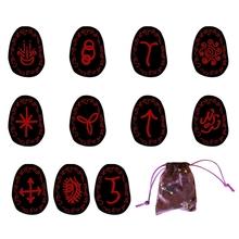 13 sztuk uzdrawiające czarownice Rune zestaw medytacja wróżbiarstwo Chakra wróżby runy kamienie grawerowane runy z płócienna torba tanie tanio OOTDTY CN (pochodzenie) Gemstone Rune