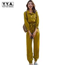 Geel Vrouwen Jumpsuit Mode 2020 Vriendje Losse Fit Dames Rompertjes Lange Mouwen Gordel Jumpsuits Lente Romper Womens Overalls(China)