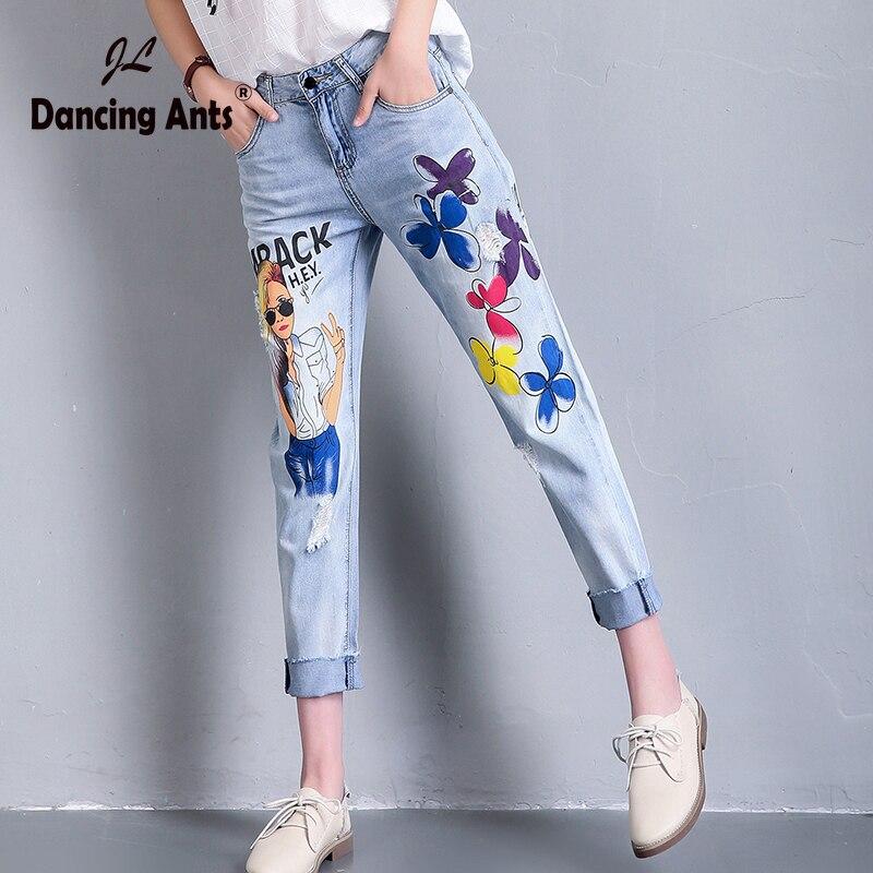 Woman Jeans High Waist Loose Harem Pants European Style Printed Cuffs Hole Pockets Casual Female Ankle-length Pants 2020 Fashion