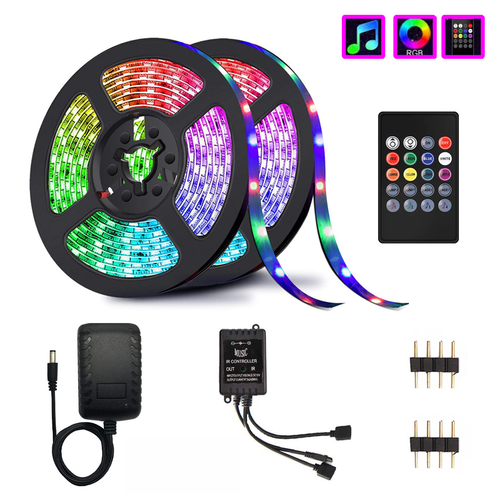 Music LED Strip Lights, Wireless LED Light Strips 10M SMD 5050 2835 Music Controller  LED RGB Tape Lights No Waterproof