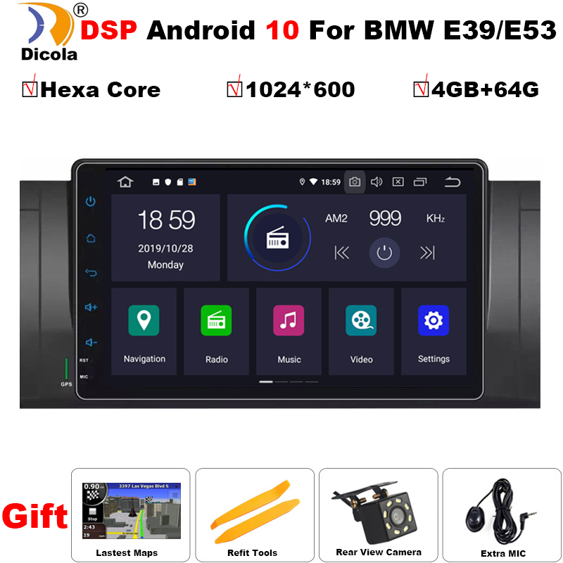 PX6 Android 10 4+64G Hexa Core GPS Navigation 9 Car DVD Player for BMW E39/E38 7 Series/M5 1997-2003 with BT/RDS/Radio/SWC/USB image