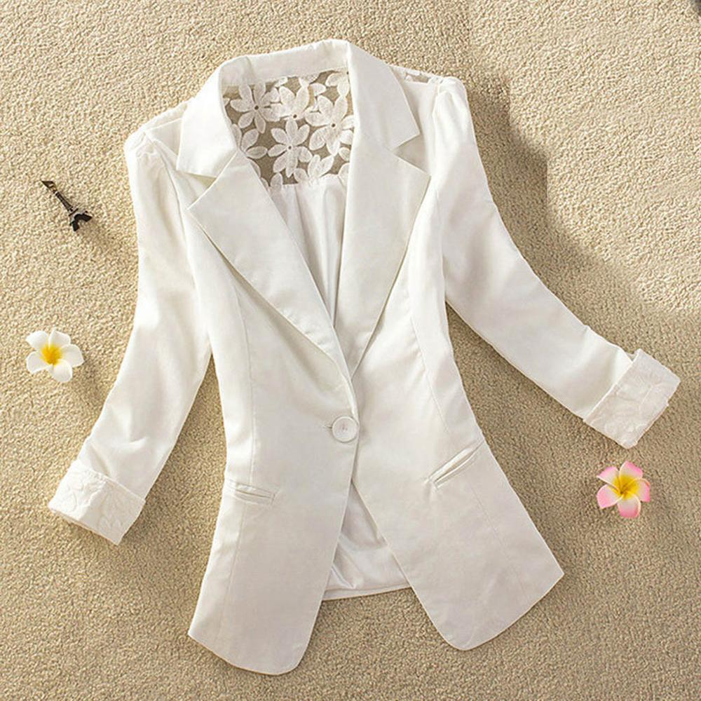 White Blazer Jacket Cardigan Lace Long-Sleeve Femme Women Ladies Outwear Solid 2B13 Tops title=