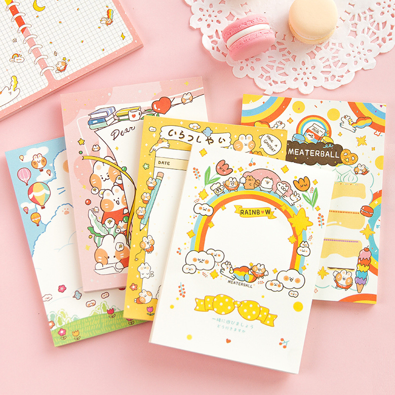 50 Pages/Pack Large Size Cute Rabbit Rainbow Memo Pad Paper Notepad School Office Supply Student Stationery Kid Gift