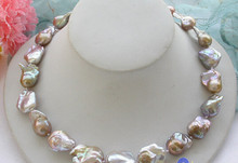 "Miss charm Jew1080 Lustre Perfect 18"" LAVENDER baroque keshi reborn PEARL NECKLACE AAA(China)"