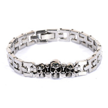 19.5cm Punk Skull Bracelet for Women Men Stainless Steel Pirate Wristband Kpop Cool Fashion Jewelry Gift Wholesale