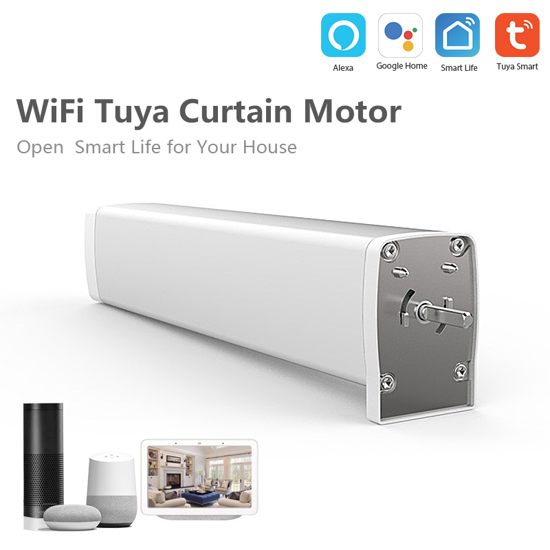 Smart Wifi Curtain Motor Wireless APP Tuya Smart Life Remote Control Support Amazon Alexa/Google Assistant/IFTTT Voice Control