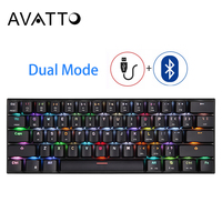 MOTOSPEED CK62 USB Wired Bluetooth Wireless Dual Mode Mechanical RGB Backlit Gaming Keyboard , 61 Keys Portable Mini Keyboard