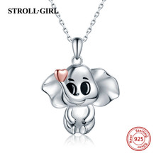 StrollGirl New 100% 925 Sterling silver Cute Elephant pendant chain Animal Necklace for Women 2019 fashion Jewelry gifts