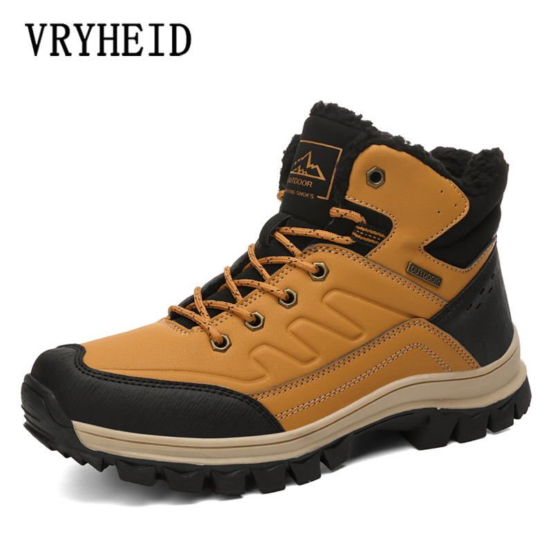 VRYHEID Men Boots Winter Man Shoes Ankle Boots Men Snow Boots Round Toe Plush Keep Warm Men Footwear Lace-Up Casual Trendy Shoes