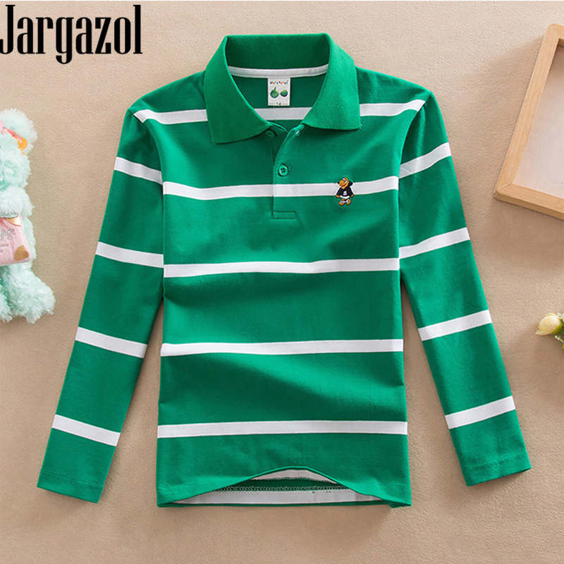 Jargazol Boys Polo Shirts Long Sleeve Shirt Fall Kids Clothes Size 3 To 15 Years Little Boy Costume Teenagers Tops Sports Polos