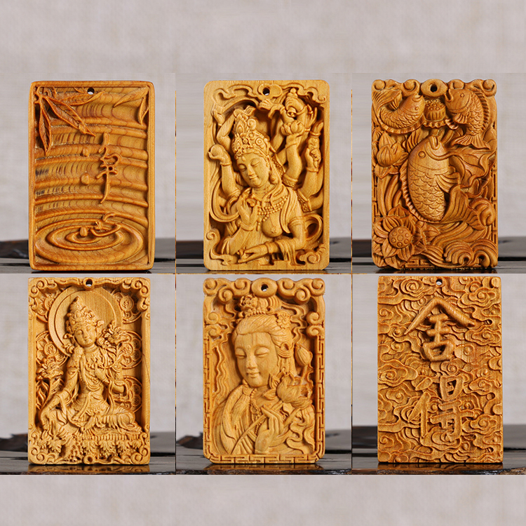 Thuja Wood Carving Solid Wood Statue Culture Gifts Buda Craft Buddha Statue Decoration Hanging Ornaments Car Pendant Home Decor