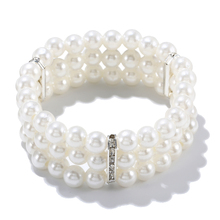 Горячая новинка, Модный Эластичный браслет, имитация жемчуга, многослойный, украшенный бисером, очаровательные широкие браслеты-манжеты, браслеты для женщин, ювелирные изделия