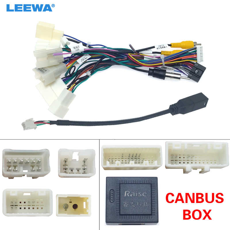 Leewa Auto 16-Pin Android Kabelboom Power Cable Adapter Met Canbus Voor Toyota Corolla/Camry/RAV4/Prado/Crown/Reiz # CA6384