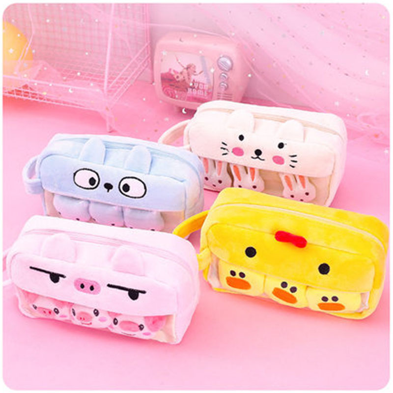 Funny Pig Duck Plush Pencil Case Large Capacity Portable Pen Bag Pencil Box Stationery Pouch Kids Toy Gift School Supplies