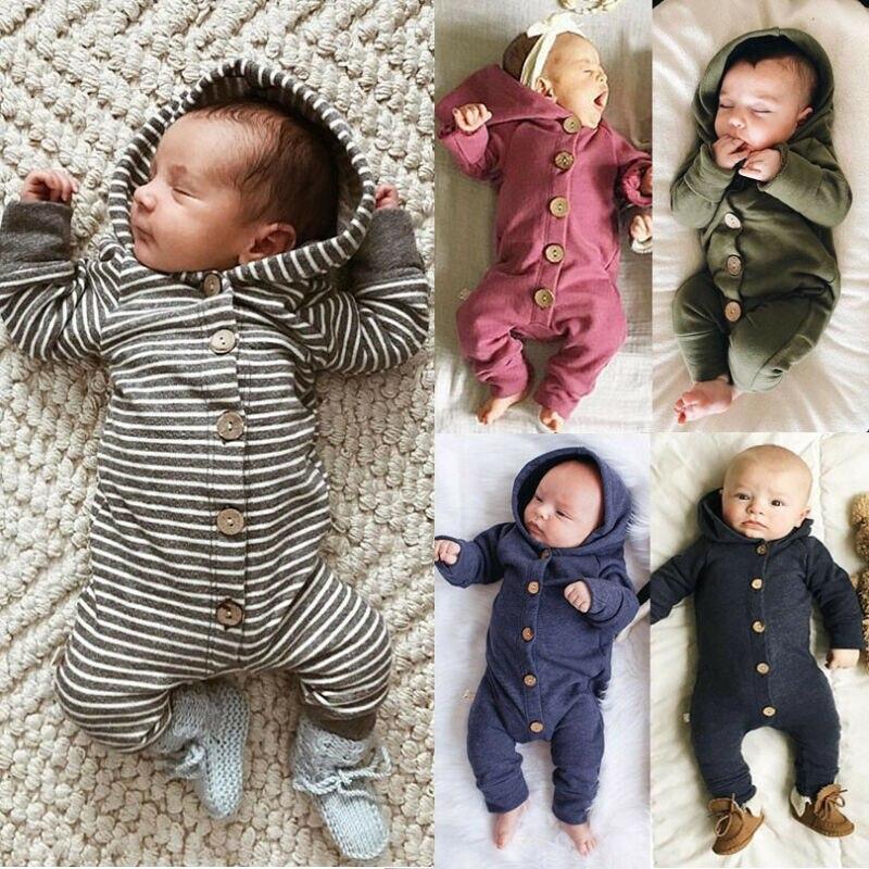 Милый детский комбинезон с капюшоном и длинными рукавами для маленьких мальчиков и девочек, комбинезон, боди, весенне-осенняя повседневная ...