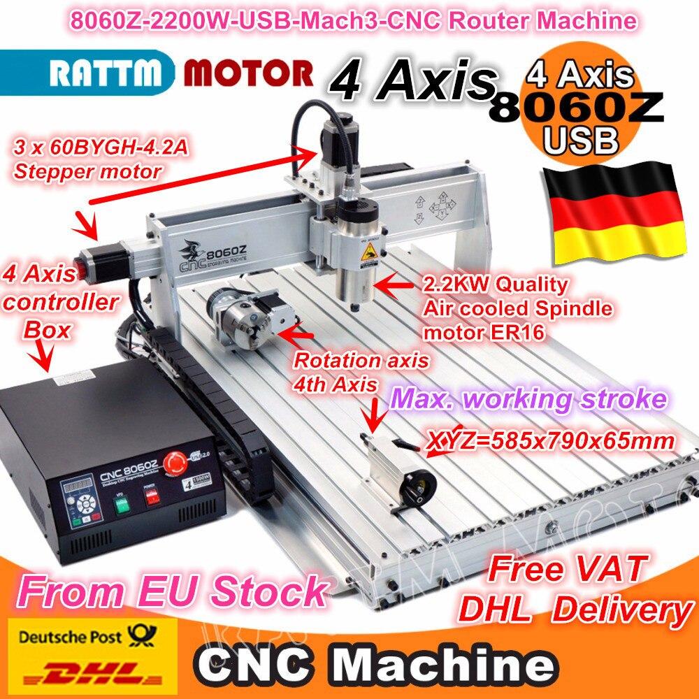 EU Free VAT 4 Axis 8060 CNC 2200W USB Mach3 2.2kw CNC Router Engraver Engraving Drilling Cutting Milling Mahcine 220VAC