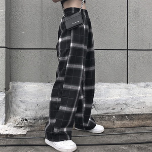 women loose bf pants polyester casual flat high Straight leg jogger punk trousers dropshipping pockets sweatpants clothes gothic