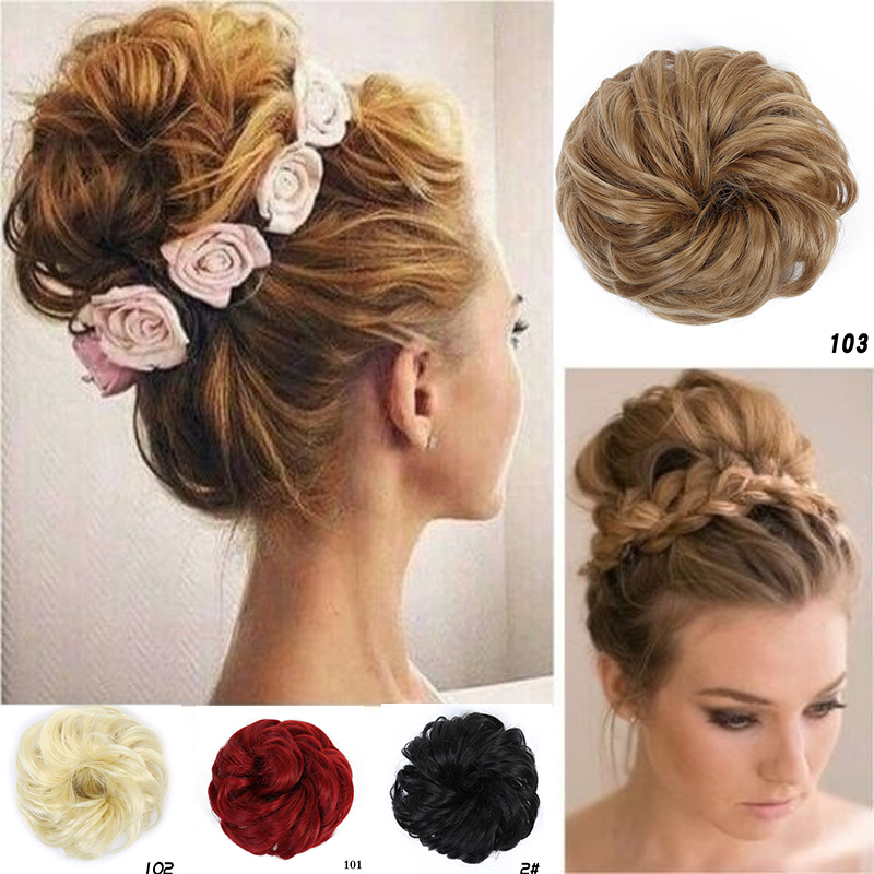 Allaosify Women Ladies Scrunchie Chignon Hair Bun Elastic Band Updo Hairpiece Synthetic Hair Chignon Hair Extension Accessories