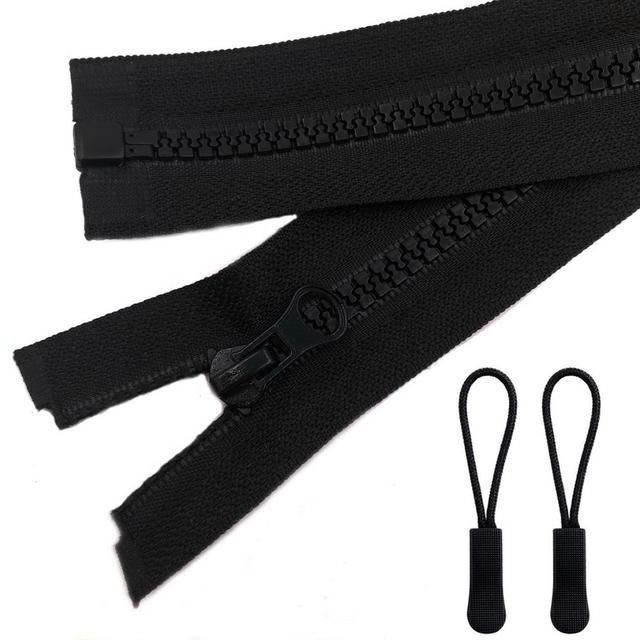 5# 26 inch Plastic Resin Zipper with Zipper Pulls Separating Jacket Coat Zippers for Sewing Accessories (2pcs/Pack)