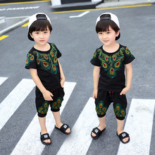 Pure cotton embroidered feathers breathable new summer 2018 children in the childrens recreational two-piece outfit