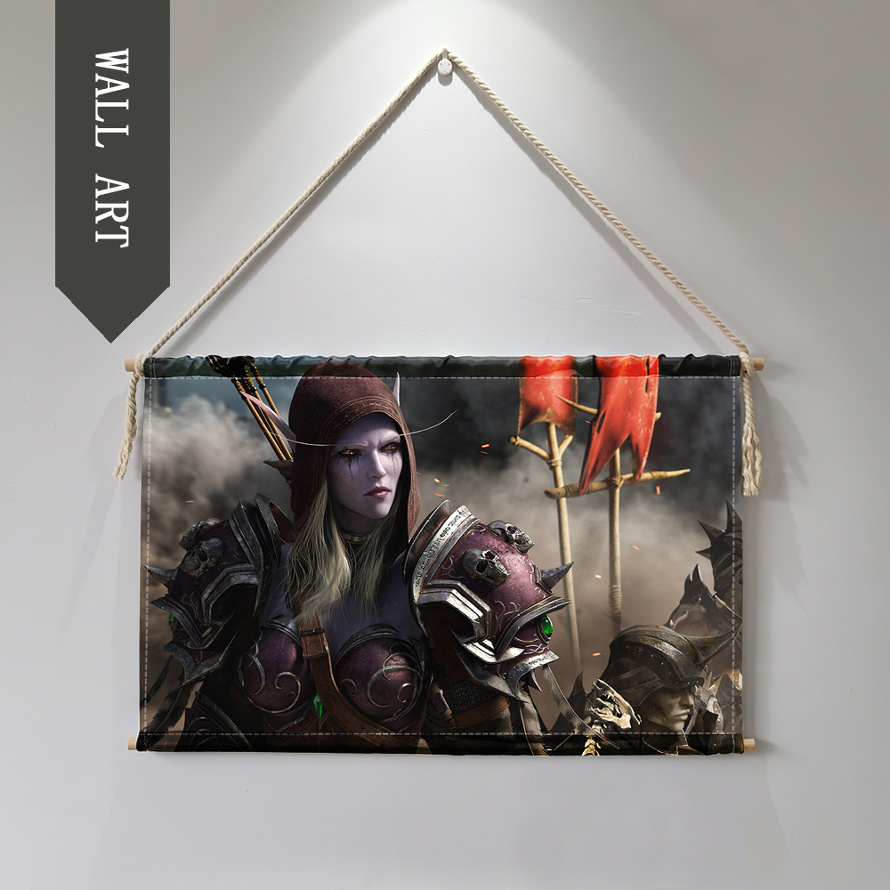 world of Warcrafts Sylvanas Jain Hanging Wall Art Poster wall pictures for living room Cloth scroll painting cuadro decorativo 1