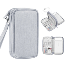 Travel Electronics Organiser,Double Layer Carrying Pouch for Power Bank, Phone, Charger, USB Cables and Other Phone Accessories