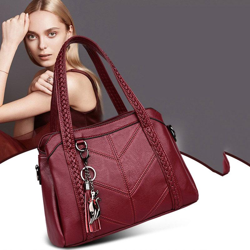 Handbags Women Leather High Quality  2020 Shoulder Bag For Women Big Capacity Black Women Shopping Bag