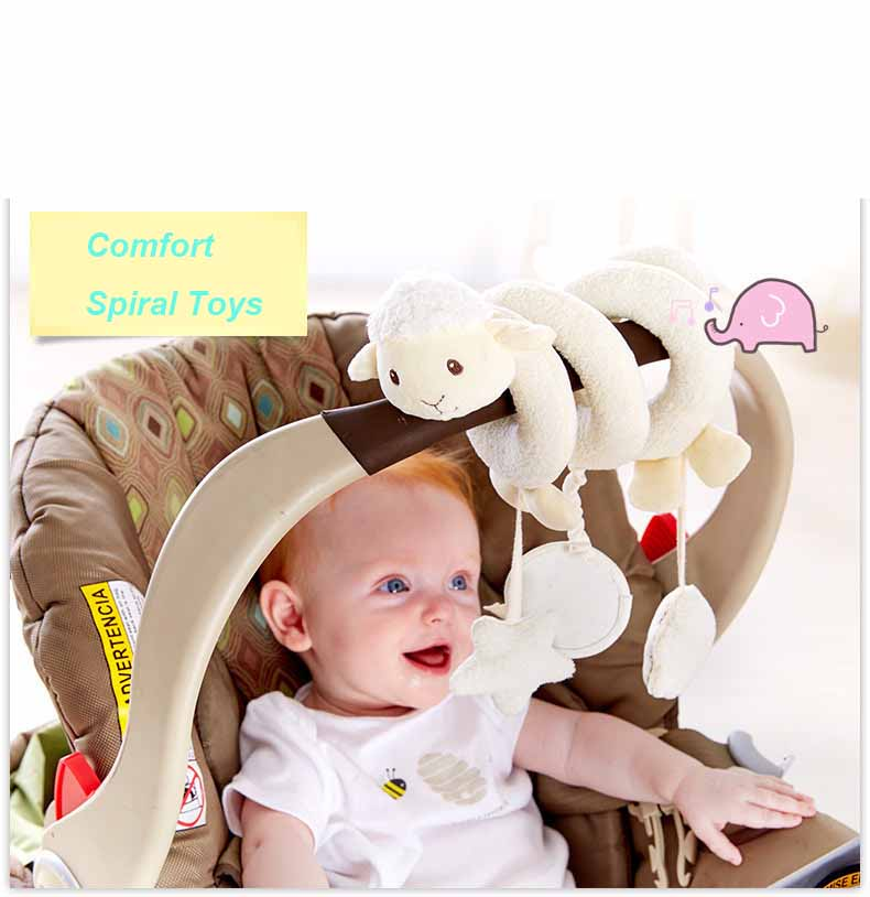 Baby Toys 0-12 Months Plush Rattle Crib Spiral Hanging Mobile Infant Newborn Stroller Bell Graphic Cognition Toys For Toddlers