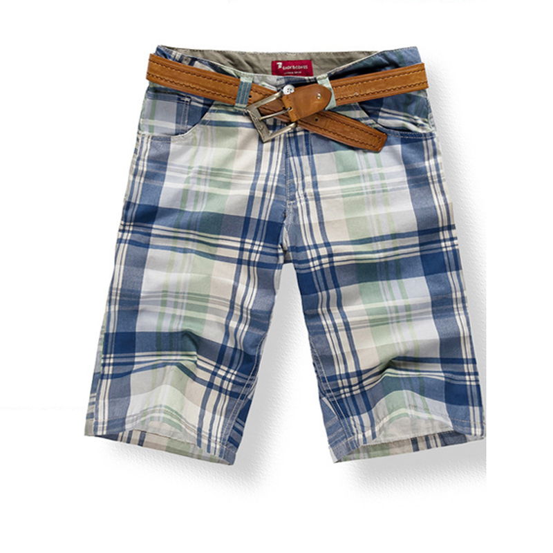 Mens Shorts Bottoms Knee Length 100% Cotton Beach Shorts Plaids Fashion Casual For Summer KWK222