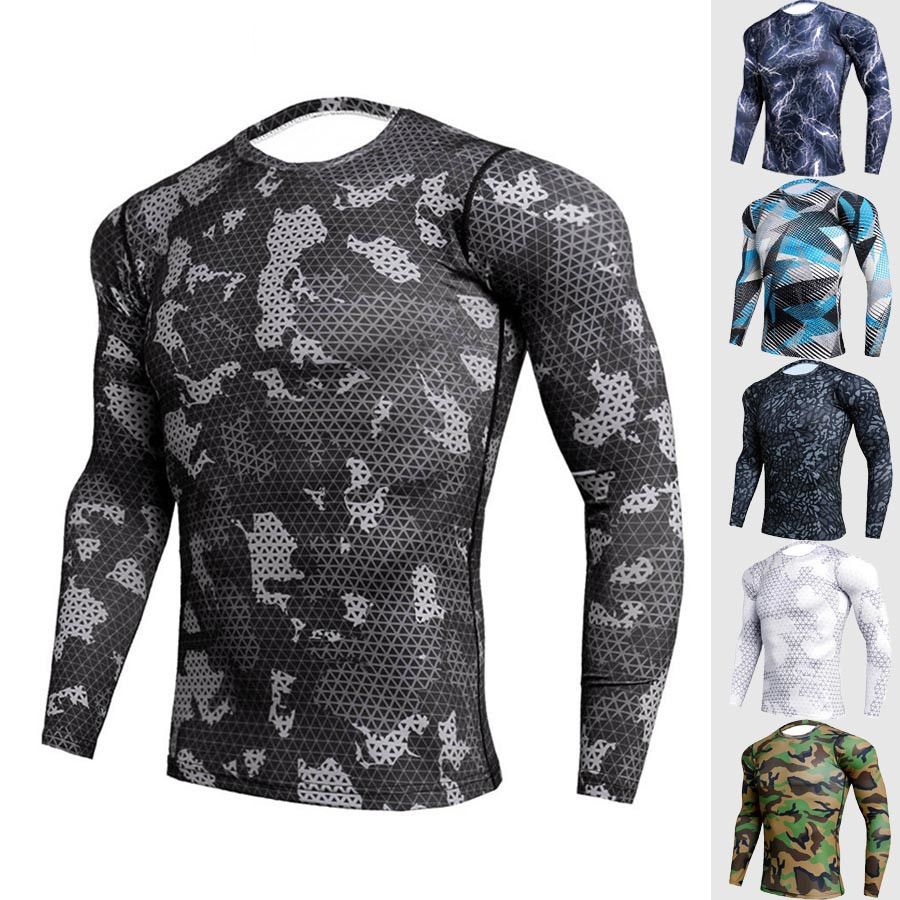 2019 Quick Dry Rashgard Male Gym Workout T Shirt Long Sleeve Sport Shirt Men Camouflage Fitness Top Gym Training Running Shirt