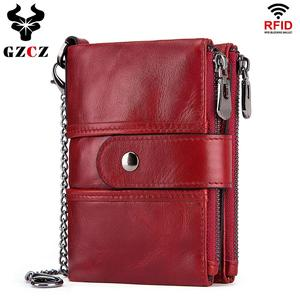 Image 1 - Wallet Wallets Women 2019 New Fashion Women 100% Genuine Leather lady Red Walets For Organizer Coin Purse Clutch Short Small HOT