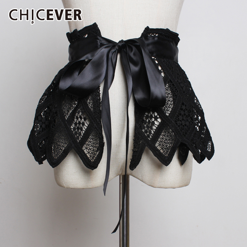 CHICEVER Korean Patchwork Lace Women's Belt High Waist Bandage Bowknot Hollow Out Tunic Female Belts 2020 Clothing Accessories