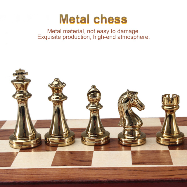 Metel Chess Pieces Wooden Chessboard Chess Game Set Beginner Chess Set for Kids and Adults High Quality Chess 4