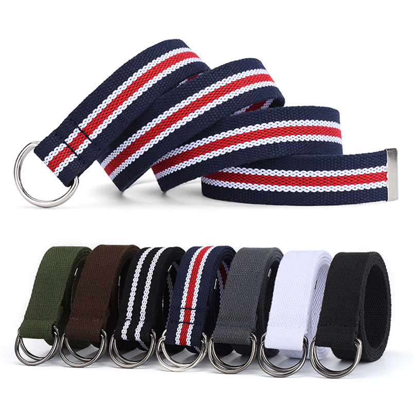 Men And Women Trendy Belts D Shape Metal Buckle Fashion Fabric Trouser Belts Student Cowboy Belts Rich Colors Tide Waistband