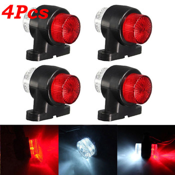 4pcs 12V-24V 8 LED Red&White Trailer Truck Lorry Side Marker-Light Tail-Lamp Truck Side Marker Lights цена 2017