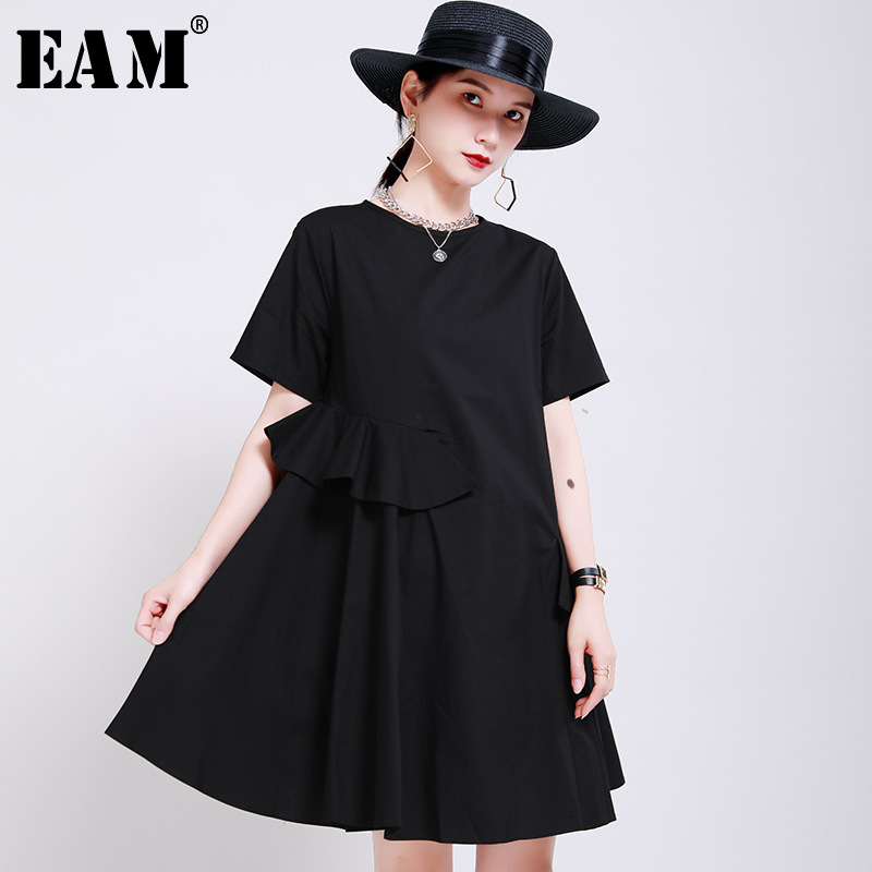 [EAM] Women White Black Ruffles Split Joint Dress New Round Neck Short Sleeve Loose Fit Fashion Tide Spring Summer 2020 1W193