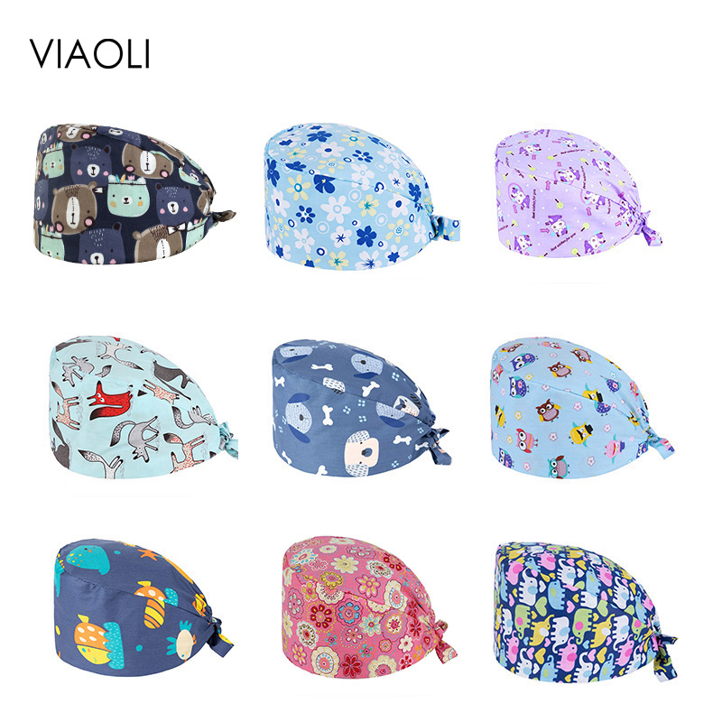 Viaoli Cotton Flamingo Pattern Scrubs Caps Hospital Doctor Work Hats Dentistry Clinic Beauty Work Hats Pet Doctor Hats Wholesale