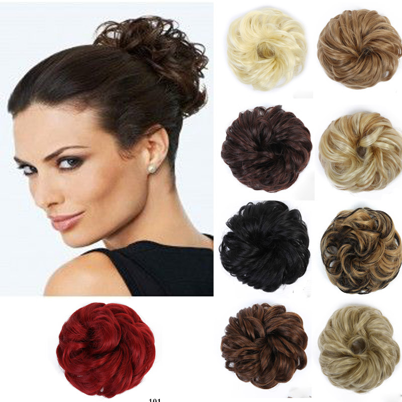 AOOSOO  Curly Scrunchie Chignon With Rubber Band Brown Blonde Synthetic Hair Ring Wrap For Hair Bun Ponytails