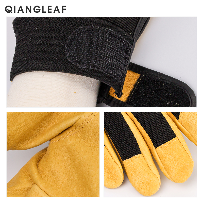 Image 4 - QIANGLEAF Brand New Protection Safety Glove Cowhide men yellow Leather Driver Security Protection Racing Moto Work Gloves 508NP-in Safety Gloves from Security & Protection