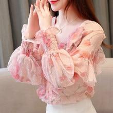 New Spring Autumn 2021 Women Ruffled Lantern Long Sleeve Blouse Female Pink Printed Shirt V-neck Chiffon Tops Feminina Blusas
